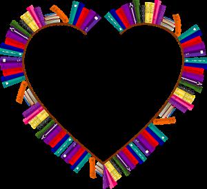 bookshelves, frame, heart